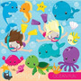 Kit Scrapbook Digital Animais Do Mar Imagens Clipart Cod 5