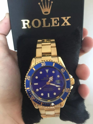 04b1b34cf6c30 Relógio Masculino Dourado Fundo Azul Vedado - R  129 en Melinterest