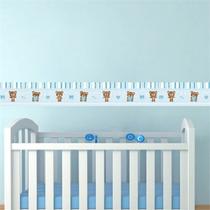 Faixa Adesiva Decorativa Parede Quarto Bebe Ursinho Azul