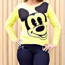 Blusa De Frio Feminina Personagem Mickey Cardigãs Lã Trico!