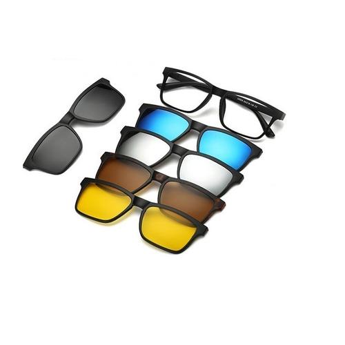Armação Óculos Grau 6 Em 1 + Clip On Sol E Noite Polarizado 8a69a5624a