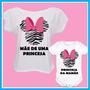 Kit Tal Mãe Tal Filha Blusa E Body Infantil Minnie Zebra