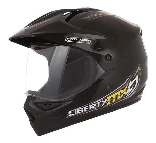 Capacete Para Moto Cross Pro Tork Liberty Mx Pro Vision Preto  L