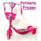 Patinete Musical Infantil Frozen  Com Luzes E Cesta