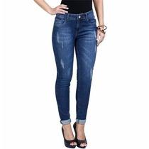 Calca Femina Em Jeans Com Recorte
