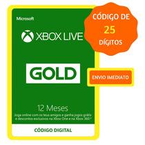 Xbox Live Gold 12 Meses Código 25 Dígitos Xbox One Xbox 360