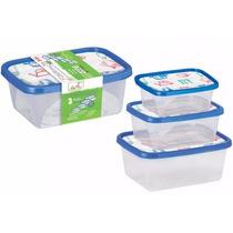 Kit 3 Potes De Plástico Organizador Comida Sem Bpa, Atoxico