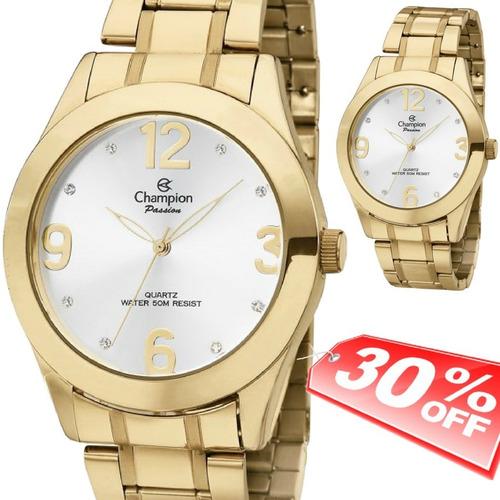 ba27b0f7412 Relógio Feminino Dourado Grande Champion Ch24268h Original
