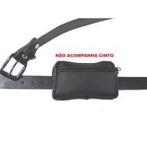 Mini Pochete De Cinto Porta Camera Celular Case 100% Couro