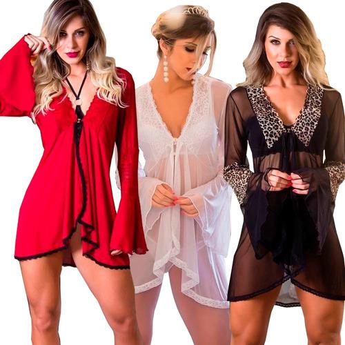 2c4e48f4b Lingerie Robe Roby Camisola Negligê Noiva Noite Nupcias Robi