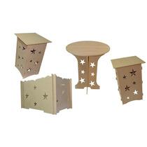 Mesa Provençal + 2 Cubos Com Tampo + 1 Cx Presente Com Fundo