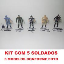 Kit C/ 5 Bonecos Soldados De Guerra 11cm + Acessórios
