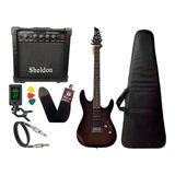 Kit Guitarra Tagima Memphis Mg260 Preto Transparente Sheldon