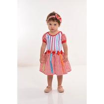 Vestido Caipira Bebe Xadrez Vermelho