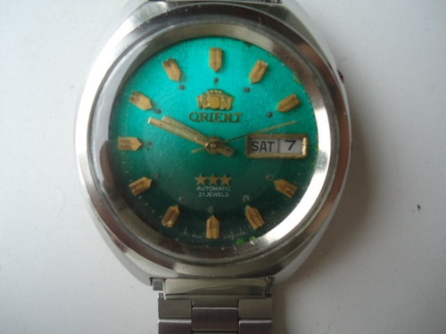 c859ba4dac0 Relógio Orient Automático Antigo Verde Escuro Perfeito