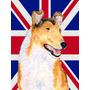 Collie Liso Com O Inglês Union Jack Bandeira Britânica Ban