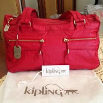 Bolsa Kipling Original Rock Heaven Média Vermelha E Dourado