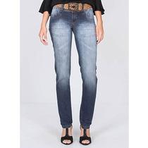 Calça Jeans Skinny Com Cinto Feminina Max Denim