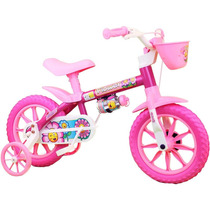 Bicicletinha Bicicleta Infantil Menina Aro 12 Flower Nathor