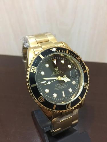 ae1c17b46b9 Relógio Masculino Dourado Fundo Preto + Caixa !