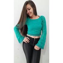 Blusinha Top Cropped Mini Blusa Renda Panicat C/ Bojo