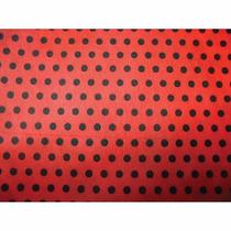 Tnt Estampado - Decorado - 10mts Mod. Poa Vermelho E Preto