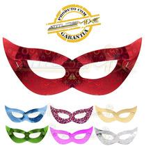 Kit Com 10 Máscaras Gatinha Papel Holográfico Festa Fantasia