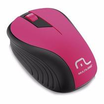 Mouse Multilaser Sem Fio 2.4ghz Preto E Rosa