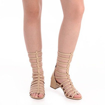Sandália Gladiadora Salto Feminina Desmond - Nude