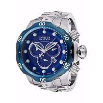 Relógio Masculino Invicta Venom Prata/azul 10791 Com Caixa