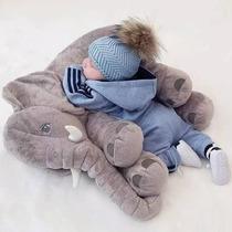 Almofada Elefante Pelúcia 62 Cm Travesseiro Para Bebê Dormir