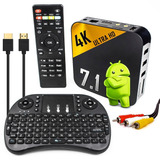 Tv Box Conversor Smart Tv Pro Android 7.1 4k Rca Teclado