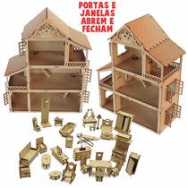 Casa Casinha Boneca Polly Mdf Cru + 27 Móveis Clássicos Top