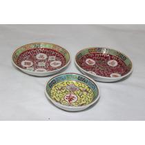 Porcelana Da China Antiga, 3 Peças Seladas, Alto Relêvo.
