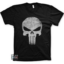Camisetas Justiceiro The Punisher Marvel Envelhecida Heróis
