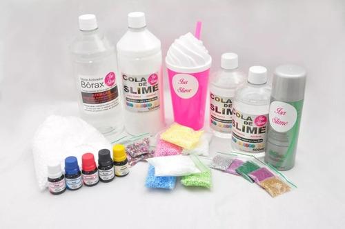 de38ed7b3569f Kit P  Fazer Slime Cola Branca E Transparente Borax + Espuma
