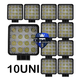 Kit 10 Farol Milha 16 Led 48w 12v/24v Quadrad Off-road 6000k