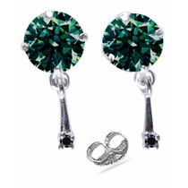 Brinco 2 Diamante De Moissanite +2 Diamante Verdadeiro Prata