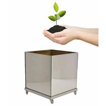 Vaso Espelhado 40cm Base Alumínio Rodinhas Parcela 12x