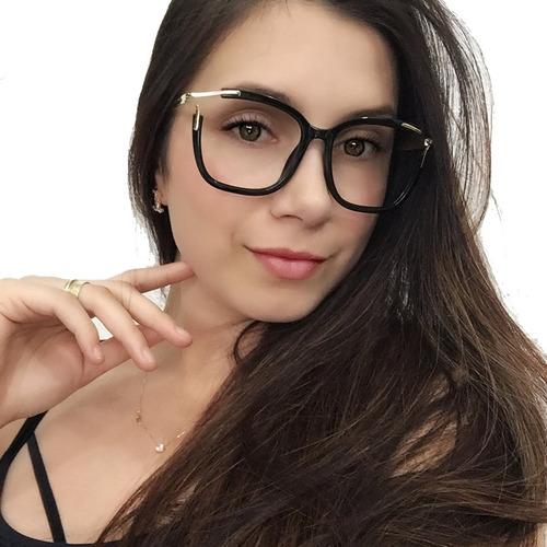 Óculos Armação Grau Feminino Quadrado Acetato+brinde Cl2689. R  79 7cc9e41624