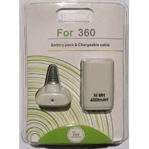 Bateria Recarregável 4800mah Xbox360 + Carregador Usb Branca