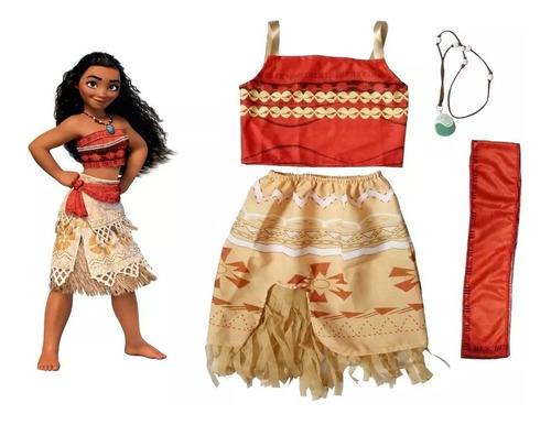 Fantasia Moana Infantil Vestido Festa Princesa Roupa + Colar