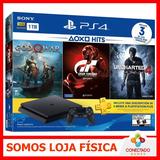 Console Ps4 Playstation 4 Slim 1tb 3 Jogos Físico + Psn