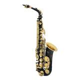 Amw Custom Saxofone Alto Preto Chaves Douradas + Case . Loja