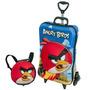 Mochila 3d C/ Rodas+lancheira Angry Birds Red Maxtoy-theposh