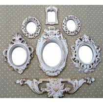Kit 6 Molduras Ouro Provençal Já Com Espelhos Decorativos