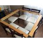 Conjunto Mesa Em Madeira Com Tampo De Vidro + 8 Cadeiras