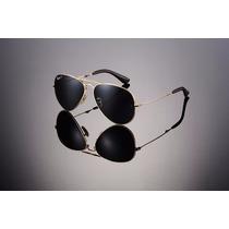 Óculos De Sol Estilo Masculino Aviador Preto Com Dourado