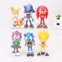 Kit 6 Bonecos Sonic, Tails, Amy, Knuckles - Pronta Entrega