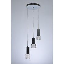 Lustre Pendente Metal + Vidro 3 Lamp G4 Cubo Vidro Quadrado